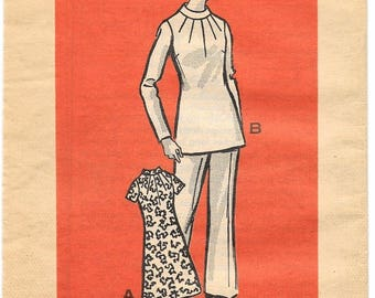 """A Band Collar, Long/Short Sleeve, A-Line Tunic & Dress, and Straight Leg Pants Pattern for Women: Size 16, Bust 38"""" • Marian Martin 9053"""
