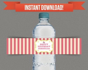 Circus Carnival Party Water Bottle Labels or Napkin Rings - Pink &Yellow - Edit and print at home with Adobe Reader - Instant Download