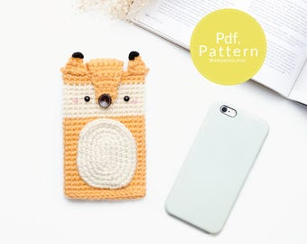 PDF. PATTERN - Crochet The Fox for iPhone 7, 7 plus, Cell phone case, Cell phone case pattern, Crochet pattern, Gifts pattern, Fox, Wolf.