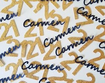 21st Birthday Confetti / 200 Pieces / Custom Name / 21st Birthday Decorations / 21st Party Decorations / 21st Birthday / Custom Confetti