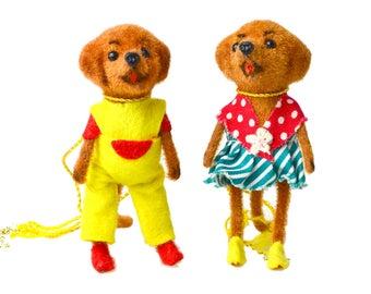 Vintage Kunstlershutz DOGS Flocked Animals, Handwork West Germany, Mini Dressed Animals