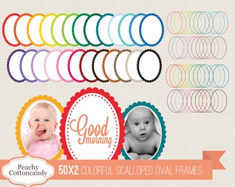 BUY 2 GET 1 FREE 100 Colorful Scalloped Oval Frames Clip Art - Scalloped Oval Labels digital clipart - Personal and Commercial Use