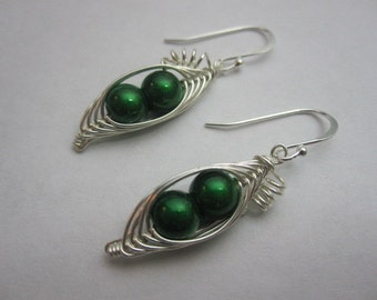 Sweet Peas in the Pod Earrings (You pick your color)