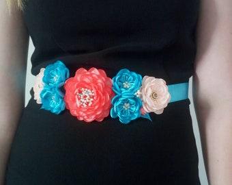 Coral Blue Flower sash/Coral Maternity sash belt/Blush flower girl sash/Flower girl dress/ Blue beige Flower belt/Flower girl sash/Rose sash