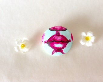 Handmade Original Lip Art Pin