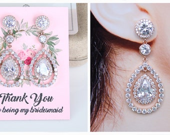Bridesmaid Earrings Rose Gold Bridesmaid Jewelry Cubic Zirconia Teardrop Pear Drop Earrings Bridesmaid Gifts
