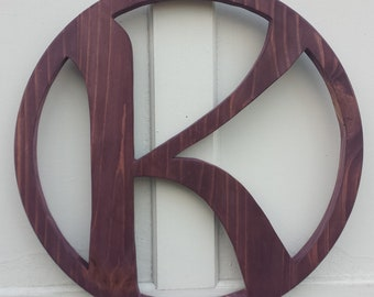 "18"" solid wood encircled letter or family initial"