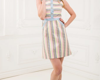 Jacquard dress with denim