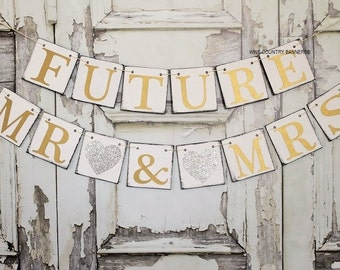 ENGAGEMENT PARTY DECORATIONS, Silver and Gold, Wedding Signs, Save the Date Signs