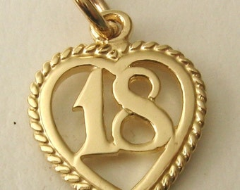 Genuine SOLID 9ct YELLOW GOLD 18 th birthday charm pendant