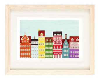 COPENHAGEN, DENMARK - Scandinavian Skyline Design Colorful Illustration Art Print Poster, Nursery, Bright, Rainbow, Bedroom, 11 x 17
