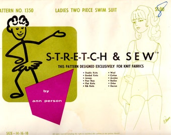 1960's Vintage Sewing Pattern Stretch & Sew 1350 Ladies' Two Piece Swim Suit Sizes 14, 16, 18