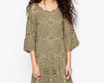 Crochet dress PATTERN, detailed tutorial in ENGLISH (every row), designer crochet dress PATTERN crochet boho dress, boho beach crochet dress