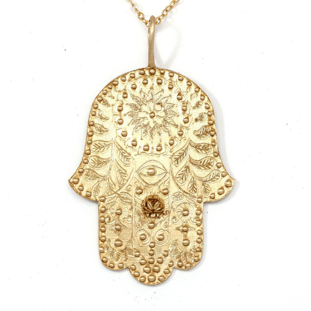 Large hamsa necklace gold hamsa jewelry extra large hamsa zoom mozeypictures Image collections