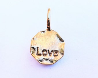 "Vermeil, 18k gold over 925 sterling silver  ""love "" diisc, shiny gold  disc,  love disc, vermeil love"