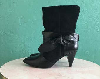 vintage black leather ankle boots size 8 / size 38