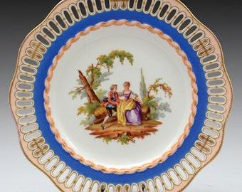 meissen porcelain decorative c.1880    marked plate