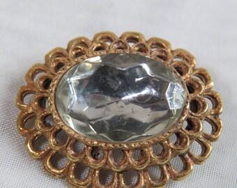 Art Nouveau Brooch CRYSTAL and GOLD FILIGREE Brooch 1950s Vintage Brooch
