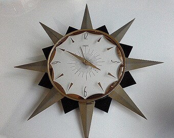 Smiths Black & Gold Starburst Sunburst Wall Clock Atomic Hipster Retro