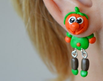Pumpkin Earrings Halloween dangle earrings stud earrings Holiday post earrings funny front back earrings fake gauge plug double sided post