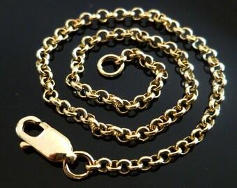 "18k Gold Rolo Belcher Chain 18k, 18ct, 750, 18ct Solid Gold Yellow Rose Belcher Men's Women's Chain 2.2mm 18"" 20"" 22"" 24"" Custom"