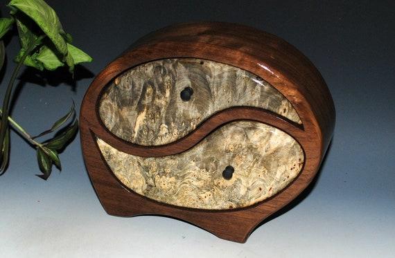 Wooden Jewelry Box - Yin Yang Jewelry Box in Walnut with Buckeye Burl - Stash Box - Wooden Box - Anniversary Gift, Wedding Gift, Wood Box