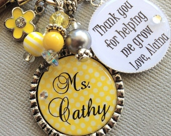 PERSONALIZED, Teacher Gift, thank you for helping me grow, teacher appreciation, inspirational quote, daycare, babysitter, apple charm