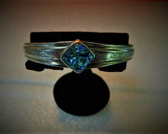 Dichroic Fused Glass Cabochon on Vintage Sterling Silver Plate Silverware Bracelet, CB6
