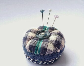 Miniature Pincushion, Blue Check