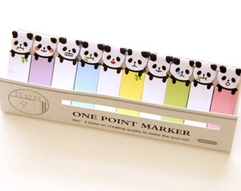 Sticky Bookmarks : Cute Baby PANDA - One Point marker Animals Sticky Note & Memo Set, Korean Planner Memo Pads / Decoration, Stationery