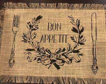 Bon Appetit Placemat Stencil (placemat not included)
