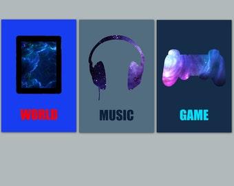 3 posters in colors, teenager wall decor, boy wall art, boy room decor, trend, teenage boy gift