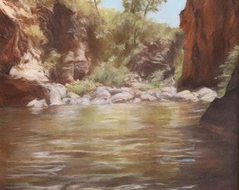 Original Oil Painting Reflections At Oak Creek Canyon