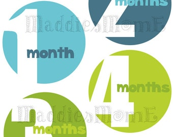 Monthly Baby Stickers Baby Boy Month Stickers Milestone Stickers Monthly Photo Stickers Bodysuit Stickers Baby Shower Gift Blue Green(Colby)