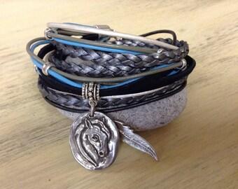 Gift for Horse Lover Horse Bracelet Leather Wrap Bracelet Boho leather Bracelet for Women Equestrian Bracelet Western Jewelry Horse Bracelet