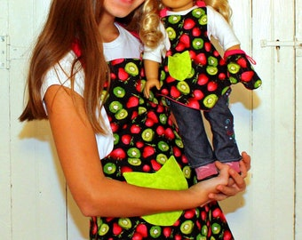 Girls Apron and American Girl Doll Matching Set in Kiwi and Strawberry