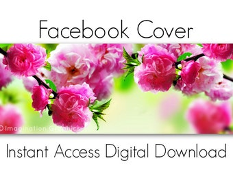 Facebook Cover Digital Download, Bright Pink Blossoms, Instant Access, Pre-made Facebook Cover, DIY, NO TEXT, Beautiful Spring Trees