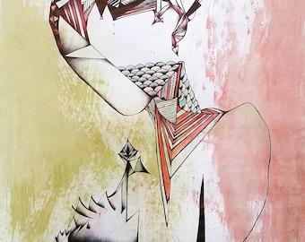 Sharp Edges, Original Drawing, Painting, Modern Art, Portrait of Woman, Geometric, Yellow, Pink, Salmon, Black, White,  Abstract, Surreal