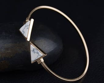 Marble Triangle Minimalistic Gold Cuff Bracelet Gift Christmas Thanksgiving Birthday White Simple Anniversary Pregnancy