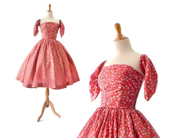 1950s Dress Red 50s Dress 1950s Party Dress Vintage prom Dress 50s Party Dress Cocktail Dress, Vintage Clothing, Red Vintage Dress Small