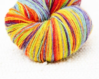KAUNI 1 ply Lace Weight Kauni Wool Yarn Rainbow 8/1, Mega-Yardage