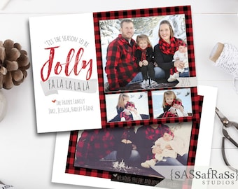 Jolly Check--Christmas Card Template for Adobe Photoshop, Photographer Template, Instant Download, DIY, Commercial Use