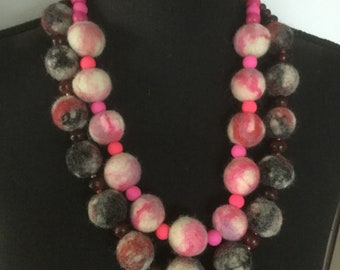 Handmade, felted beaded necklace, set of 2