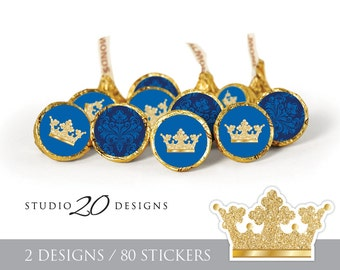 Instant Download Royal Blue Prince Hershey Kiss Stickers, Blue Gold Baby Shower Kiss Labels, Printable Gold Royal Prince Candy Stickers #66C