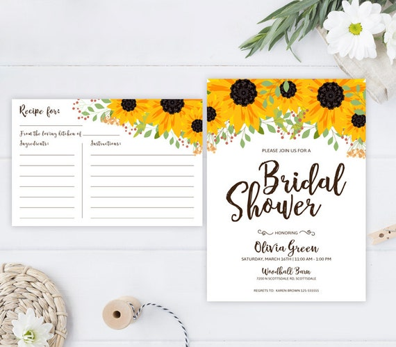Sunflower bridal shower invitations and recipe cards pack