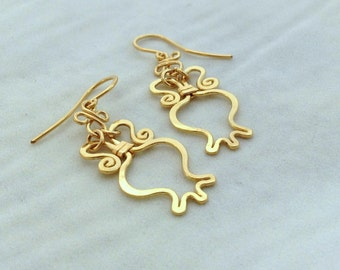14k solid Gold pomegranate earrings, RIMON 14 karat gold earrings , dainty gold dangle earrings, prosperity abundance, judaica jewelry