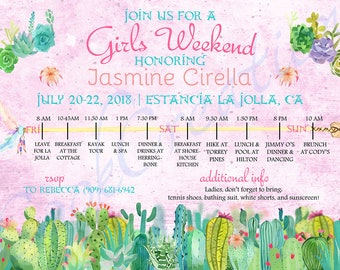 Girls Weekend / Bachelorette Party Invitation *Printable Digital File*