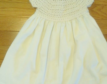 Baby Girls White Denim Dress with Crocheted bodice and bloomers - size 3 -  6 months