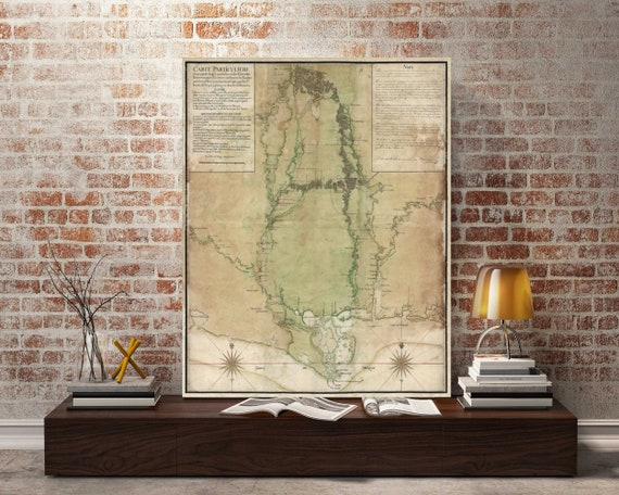 Mississippi Map 1743 Map of MS Vintage Map of Mississippi Old Mississippi Delta map Wall Map map decor new home housewarming gift map art
