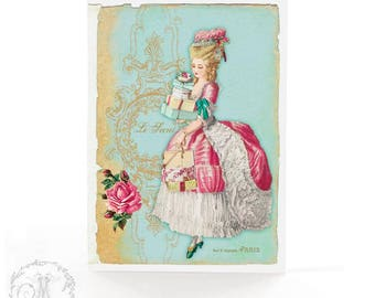 Marie Antoinette card, Christmas card, French vintage style, French lady, Paris, pink roses, birthday card, all occasion card